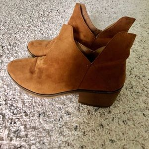Camel suede booties from Forever 21